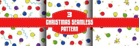 Christmas ball seamless patterns set, flat outline style. Christmas ball seamless pattern set. Flat set of 3 christmas pattern for web on white background stock illustration
