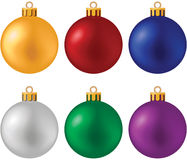 Christmas ball set. No mesh or transparency - blend and gradient only Stock Photography