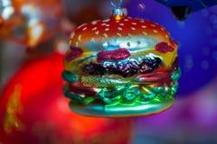 Christmas ball -shape hamburger Royalty Free Stock Photo