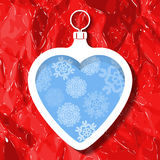 Christmas ball in the shape of a heart and snowflakes Royalty Free Stock Images