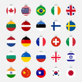 Christmas ball shaped country flags set Stock Image