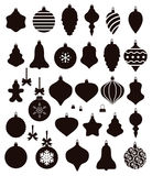 Christmas ball shapes, vector. Black and white collection of christmas ball shapes, vector Stock Images