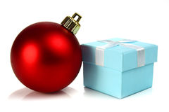 Christmas ball and small box for a gift Royalty Free Stock Images