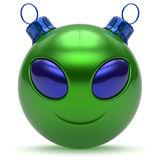 Christmas ball smiley alien face Happy New Year bauble green. Christmas ball smiley alien face Happy New Year's Eve bauble cartoon cute emoticon decoration green Stock Images