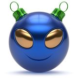 Christmas ball smiley alien face New Year`s Eve bauble blue. Christmas ball smiley alien face Happy New Year`s Eve bauble cartoon cute emoticon decoration blue Royalty Free Stock Image