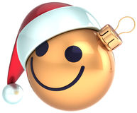 Christmas ball smiley face gold Happy New Year Santa. Hat decoration. Winter joy emoticon. Merry Xmas holiday positive stylized funny character concept royalty free illustration