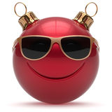 Christmas ball smiley face Happy New Year's Eve emoticon Stock Images