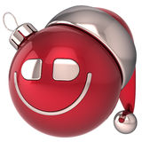 Christmas ball smiling New Year bauble Stock Photo