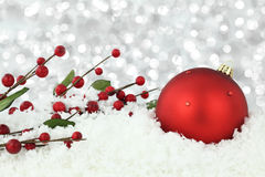 Christmas ball on snow royalty free stock image