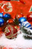 Christmas-ball in snow Stock Images