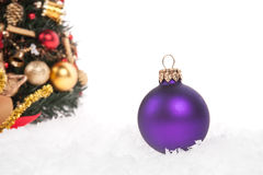 Christmas ball with snow Royalty Free Stock Images