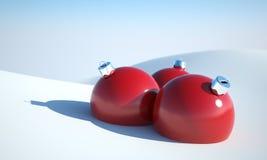 Christmas ball in snow. Winter illustration ball on snow stock illustration
