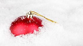 Christmas ball in the snow stock footage