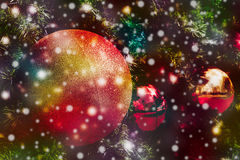 Christmas ball with snow fall. As Christmas background Stock Images