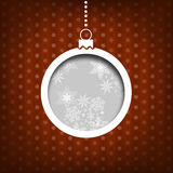 Christmas ball. Snow flakes decoration. Vintage style. Red background Stock Photography