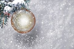 Christmas ball with snow flakes Stock Image