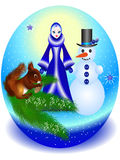 Christmas ball with Snow Maiden, snowman and squirrel on a branch. Stock Photos