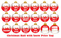 Christmas Ball with snow Price Tag. Decoration Royalty Free Stock Image