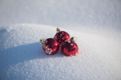 Christmas ball in snow Royalty Free Stock Photography