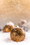 Christmas ball and snowflake. On abstract background Stock Images
