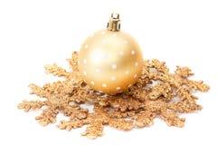 Christmas ball on snowflake Royalty Free Stock Photos