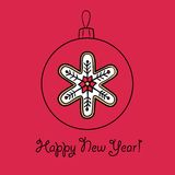 Christmas ball with snowflake. Vector illustration. You can use it  for design of greeting card Stock Photos