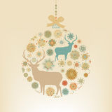 Christmas ball snowflakes and deer. EPS 8 Stock Photography