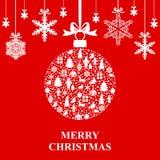 Christmas ball and snowflakes hang. Vector illustrations of greeting Christmas card with ball and snowflakes hang on red background Stock Photo