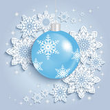 Christmas ball with snowflakes Royalty Free Stock Images