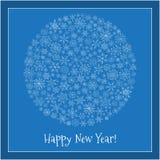 Christmas ball of snowflakes  illustration greeting card. Royalty Free Stock Photo