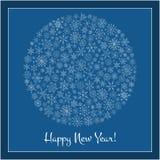 Christmas ball of snowflakes  illustration greeting card. Royalty Free Stock Photography