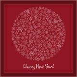 Christmas ball of snowflakes  illustration greeting card. Stock Photos