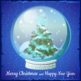 Christmas ball with snowflakes and tree inside it Stock Photo
