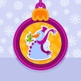 Christmas ball, snowman with fir-tree. Christmas ball, postcard, snowman with fir-tree Stock Photo