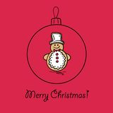 Christmas ball with snowman. Vector illustration. You can use it  for design of greeting card Stock Photo