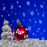 Christmas ball and snowmans. As christmas background Royalty Free Stock Photo