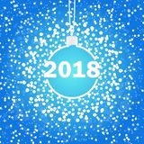 Christmas ball with snowy blue background Vector Illustration. vector illustration