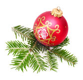 Christmas ball and spruce Stock Photos