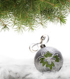 Christmas ball and spruce branch Royalty Free Stock Image