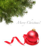 Christmas ball and spruce branch. Christmas ball and green spruce branch Royalty Free Stock Photo