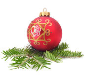 Christmas ball and spruce branch. Christmas ball and пкуут spruce branch Stock Photo