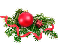 Christmas ball and spruce branch. Christmas ball and green spruce branch Royalty Free Stock Photography
