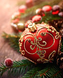 Christmas ball on spruce twigs Royalty Free Stock Images