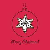 Christmas ball with star. Christmas ball with gingerbread star. Vector illustration. You can use it  for design of greeting card Stock Image