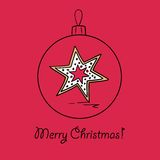 Christmas ball with star. Christmas ball with gingerbread star. Vector illustration. You can use it  for design of greeting card Stock Photo