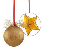 Christmas ball and star - horizontal photo. Over white Stock Image