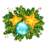 Christmas ball and stars decoration isolated. On white background, Spruce branches with beads and sequins Stock Photo