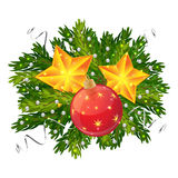 Christmas ball and stars decoration isolated. On white background, Spruce branches with beads and sequins Stock Photography