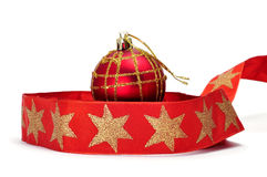 Christmas ball and stars ribbon Stock Photos