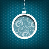 Christmas ball. Swirls decoration. Vintage style. Blue background Royalty Free Stock Photos